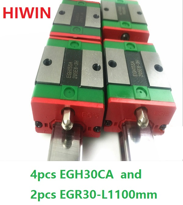 2pcs 100% original HIWIN linear guide rail EGR30 -L 1100mm + 4pcs EGH30CA linear block for CNC router 2pcs 100% original hiwin linear guide rail egr30 l 1800mm 4pcs egh30ca linear block cnc router