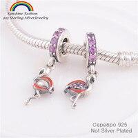 Pure 925 joyas de plata esterlina CZ Piedras Flamingo dangle Cuentas cabe Amuletos pulsera mujeres DIY joyería haciendo