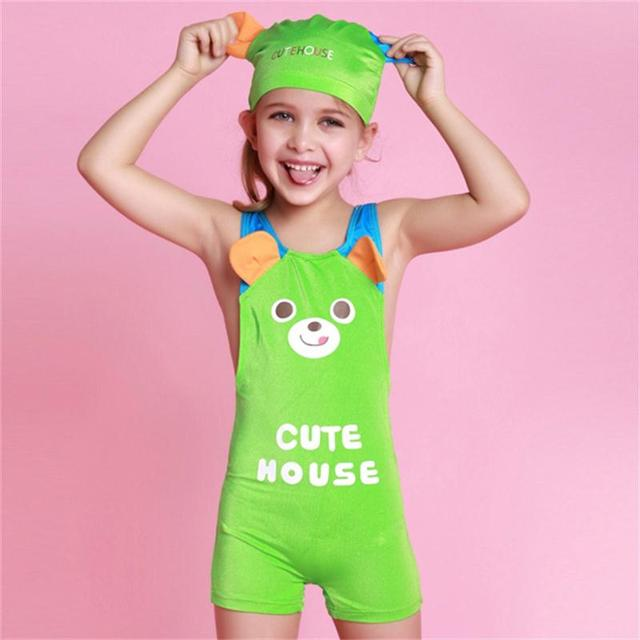 Hote Sale One Piece Baby Girl Swinsuit Lovely Kids Animal Bathing Suits Cute Little Girl Swimwear Maillot De Bain Free Shipping