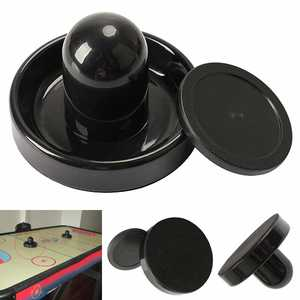 96mm Air Hockey Table Felt Pusher Mallet Goalies with 1pc 63mm Puck Black FH99