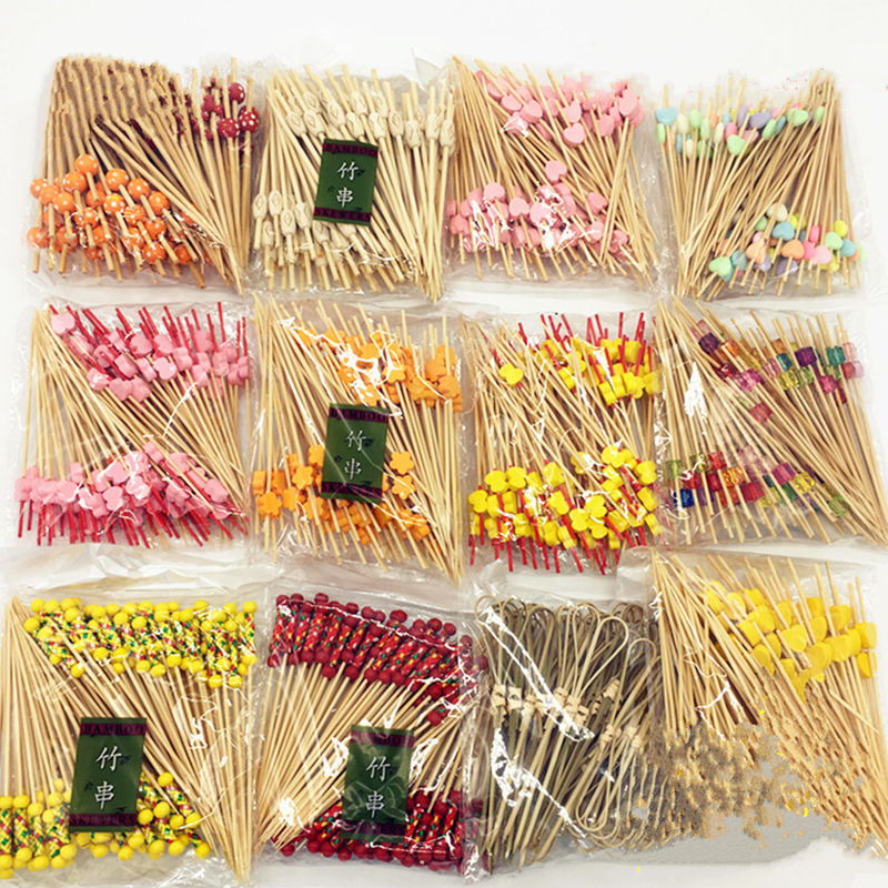 100pcs! New Chinese bamboo craft fruit fireworks toothpick interesting dessert cocktail sign wedding decorative party supplies