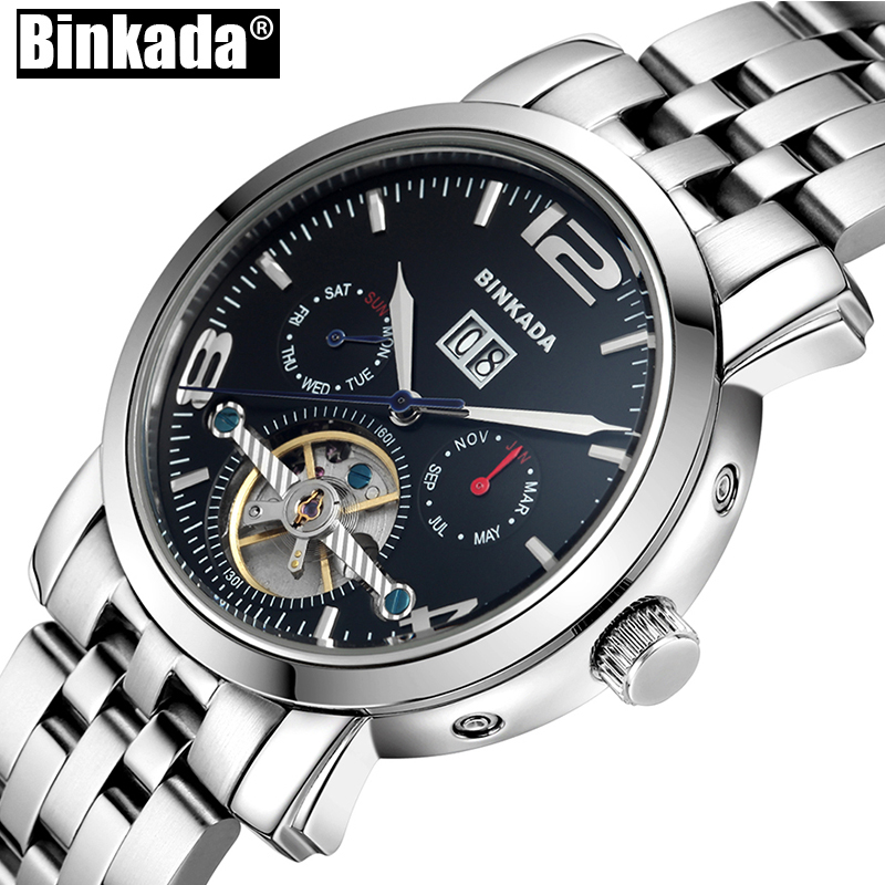 Skeleton Sport Business Watch Tourbillon Analog Mens Mechanical Watch Top Luxury Brand BINKADA Automatic Waterproof Men Watches tevise men black stainless steel automatic mechanical watch luminous analog mens skeleton watches top brand luxury 9008g
