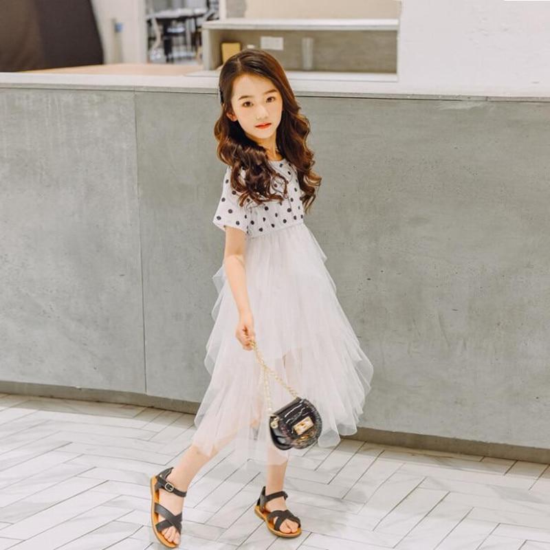 2019 Brand Girls Summer Print Dot Dress Girls Short Sleeve Mesh Princess Cute School Perform Party Fashion Dress Kid Clothes Hot 4