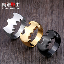 steel soldier High quality personality fashion silver/black Batman arkham origins Ring Stainless Steel Jewelry jewelry