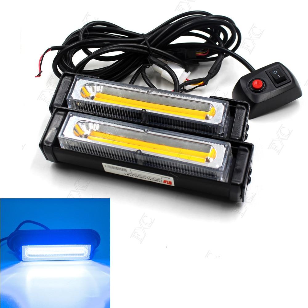 12 24V COB LED Traffic Advisor Emergency Flash Strobe Light Bar Warning Blue Lamp 2 in 1
