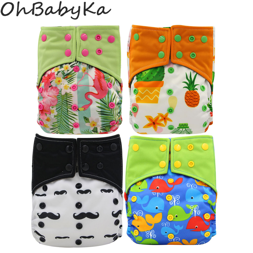OhBabyKa Baby All-in-two Reusable Diapers Bamboo Charcoal Cloth Nappy Cloth Pocket Diapers Double Gussets One Size Adjustable