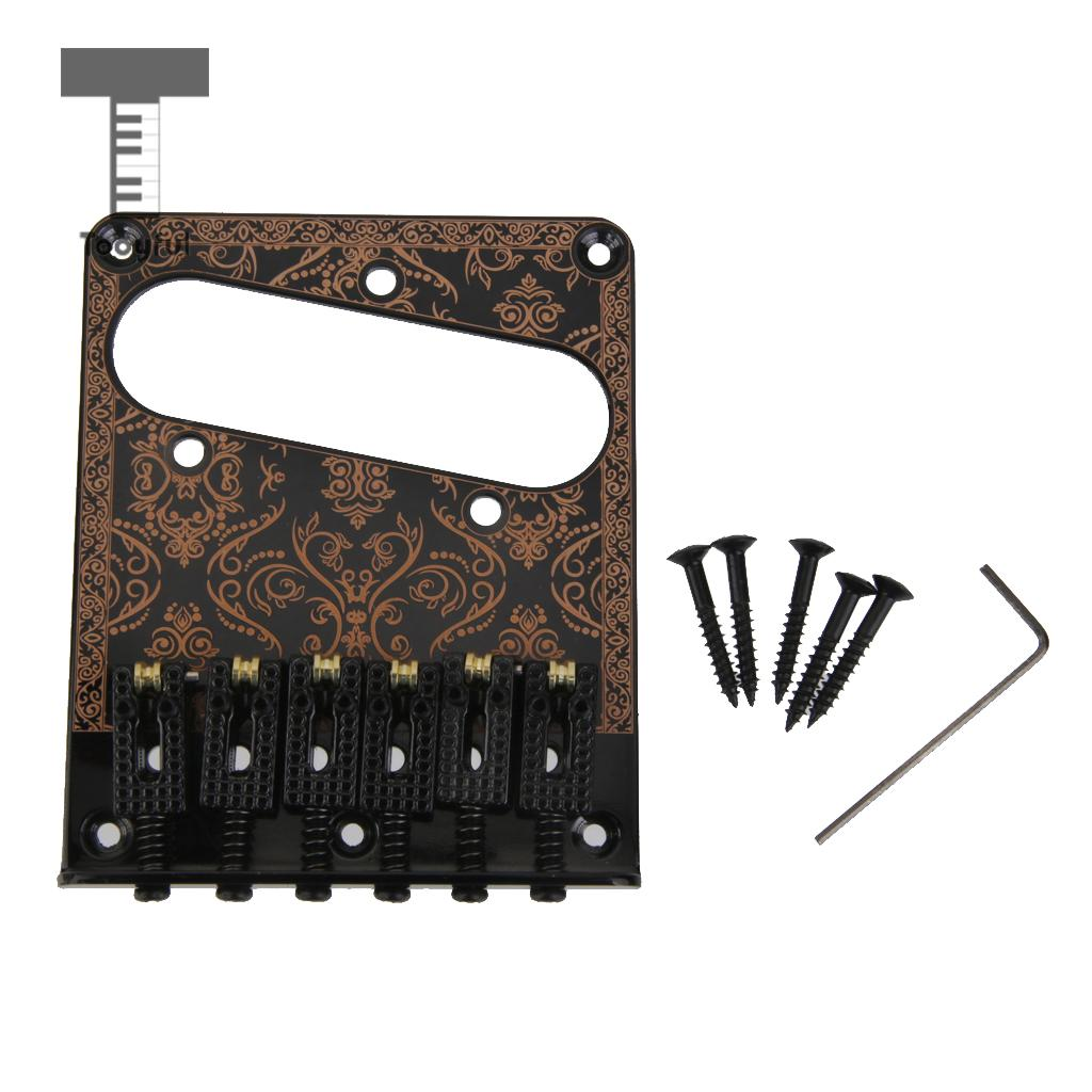 Tooyful Black 6 Saddle Guitar Pickup Bridge With 6 Vintage String Guides for Fender Telecaster Tele TL Electric Guitar Parts kmise single coil pickup for electric guitar parts accessories bridge neck set black with chrome gold frame