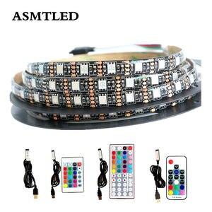1 zestaw zasilany przez port USB 5 V RGB LED Strip czarny światło 60 diod LED/m 5050 SMD taśma LED do PC TV oświetlenie tła za pomocą pilota zdalnego sterowania