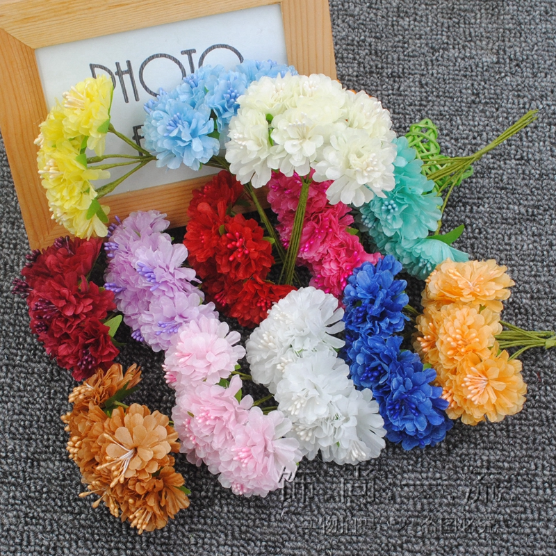 6pcs 3 5cm New Arrival Mini Multicolor Silk Artificial Rose Flowers Bouquet Wedding Decoration For DIY Scrapbooking Flower in Artificial Dried Flowers from Home Garden