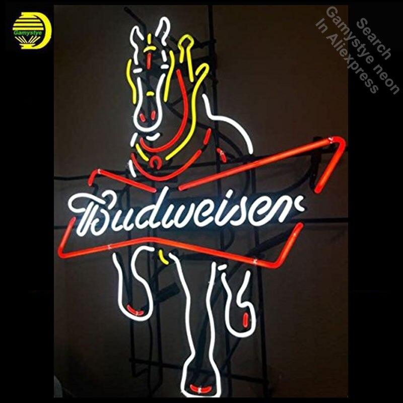 Enseigne au néon pour Budweise Clydesdale cheval néon enseigne entreprise hôtel affichage à la main tube de verre bière Pub personnalisé néon lumière