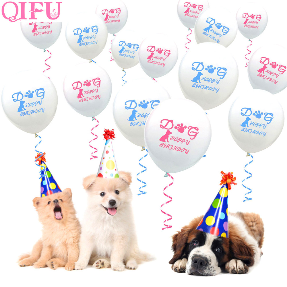QIFU Dogs Happy Birthday Balloons Foil Balloon Woof Ballons Latex Pink Blue Baloons Birtnday Party Decor Kids Balon Huliem In Accessories From