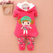 BibiCola baby girls warm winter suit thicken clothing sets children's hoodies set  kids clothes set children christmas outfit