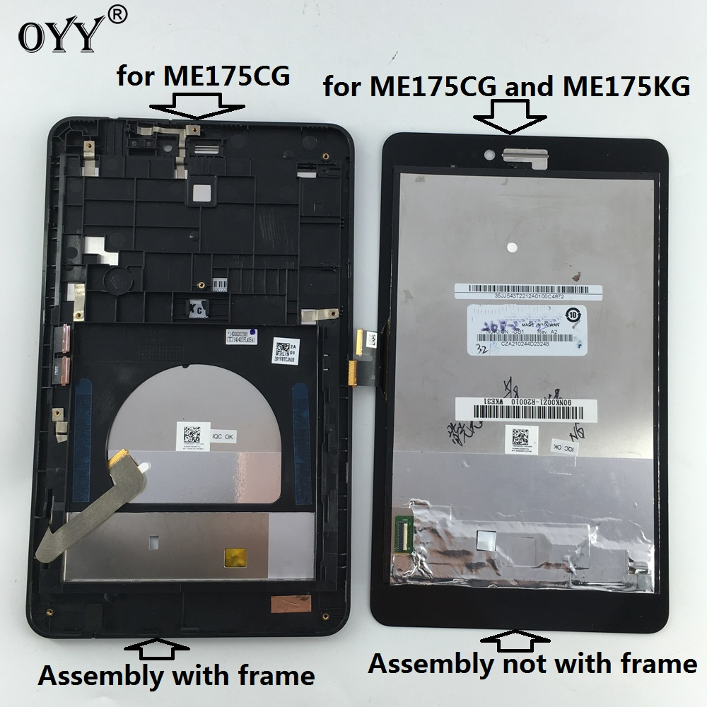 capacitive touch screen LCD Display Digitizer Glass Assembly with frame For Asus Fonepad 7 Memo HD 7 ME175 ME175CG K00Z used parts lcd display monitor touch screen panel digitizer assembly frame for asus memo pad smart me301 me301t k001 tf301t