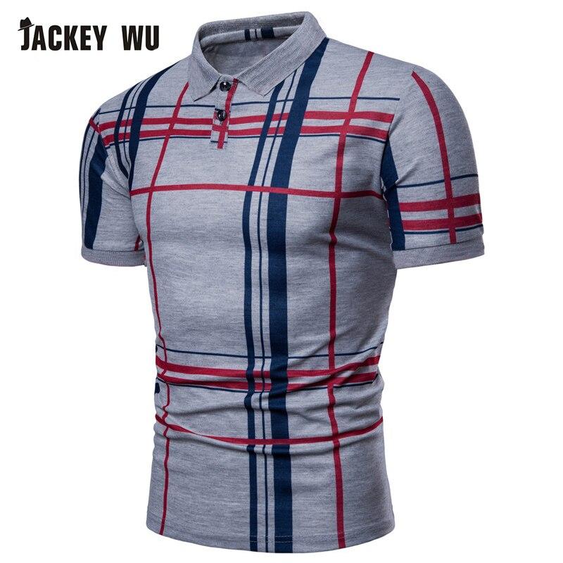 JACKEYWU Plaid Polo Shirt Men 2019 Summer Fashion Short Sleeve Tees Cotton Breathable Camisa Elastic Casual Polos Blue