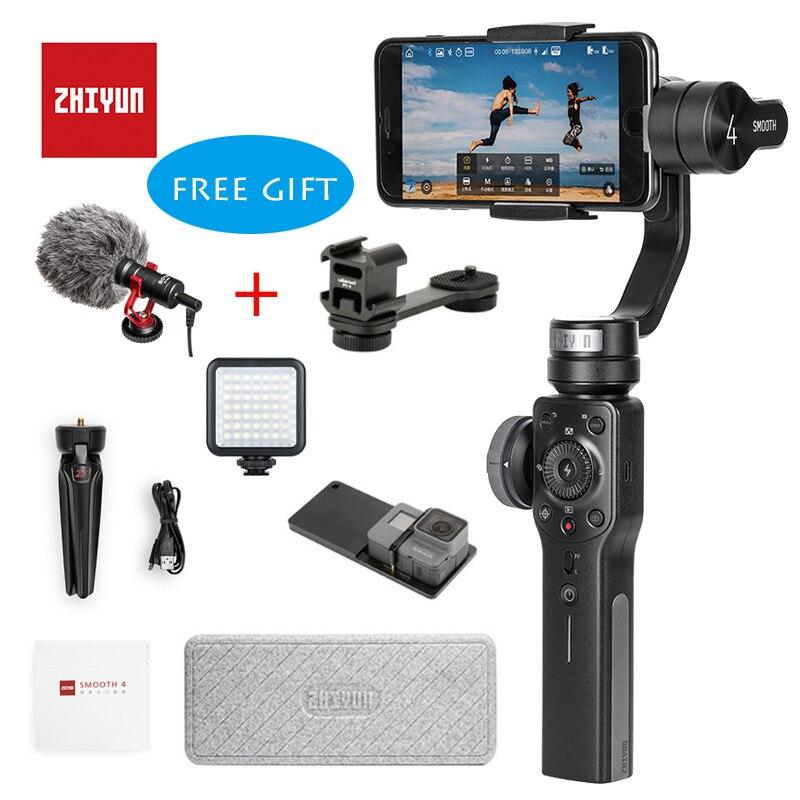 Zhiyun Smooth 4 3 eje Handheld Gimbal Portable estabilizador de montaje de cámara para Smartphone iPhone y Android Gopro acción cámara