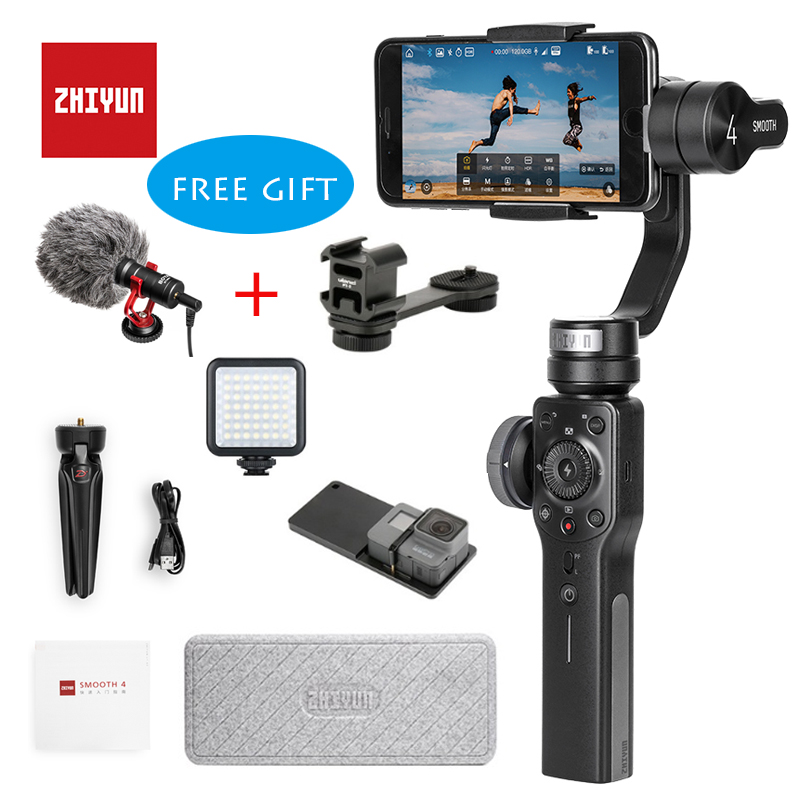 Zhiyun гладкой 4 3 оси ручной карданный Портативный стабилизатор Камера крепление для смартфонов iPhone и Android и Gopro действий камера