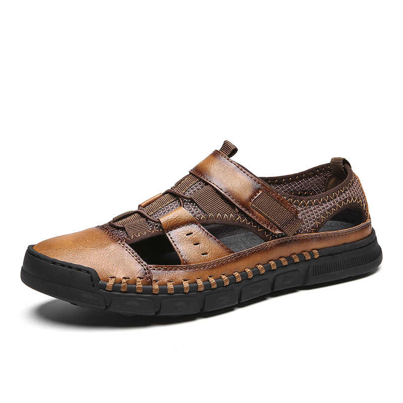 2019 Nieuwe Mannen Sandalen Echt Lederen Koeienhuid Mannen Sandalen Zomer Kwaliteit Strand Slippers Casual Sneakers Outdoor Strand Schoenen