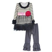 Persnickety Remake Printemps Filles Vêtements Rayé Tunique Robes Fleur Déco Enfants Tenues À Volants Pantalon Enfants Vêtements Ensembles F011