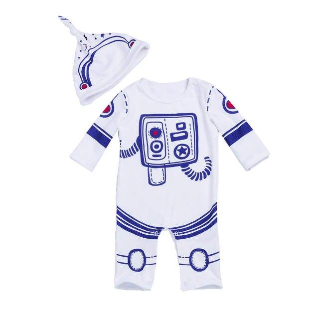 b8749c7f77 Bebé infantil Romper 2 pcs Set Traje Espacial Astronauta Criança Meninos  Macacão de bebê Recém-