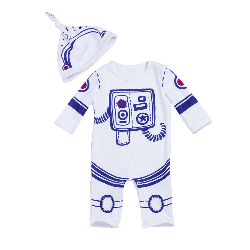 Infant Baby Boy Romper 2pcs Set Astronaut Spacesuit Toddler Boys Jumpsuit Newborn Spring A Clothes Pilot Costume With Caps spring baby romper infant boy bear romper newborn hooded animal clothes toddler cute panda romper kid girl jumpsuit baby costume