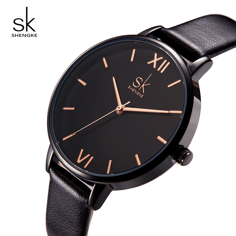 Shengke Brand Watches Women Black Fashion Leather Watches Luxury Quartz Ladies Wrist Watch Relogio Feminino 2018 SK Female Clock pair of trendy rhinestone oval leaf earrings for women page 7