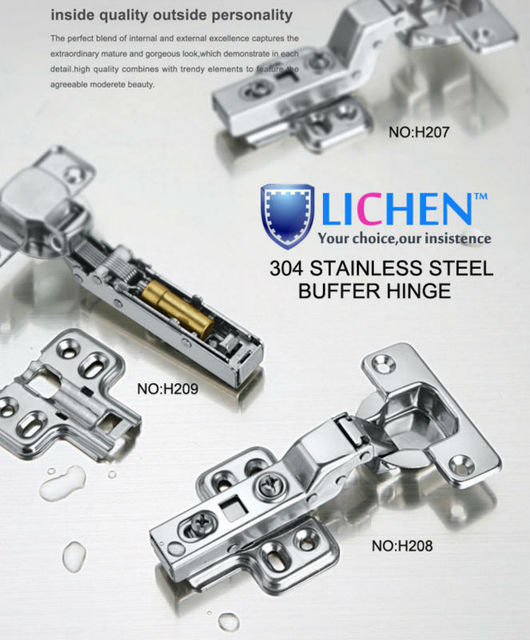 (4 pieces/lot)LICHEN 304 stainless steel full overlay buffer Hinges Soft-close Hinges Cabinet Cupboard Hinge