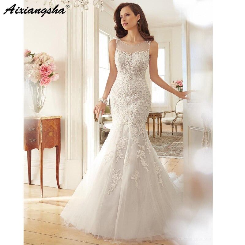 2019 Wedding Dresses Vestido De Novia Lace Wedding Dress Court Train Appliques Mermaid Wedding Dresses Elegant Bride Dresses