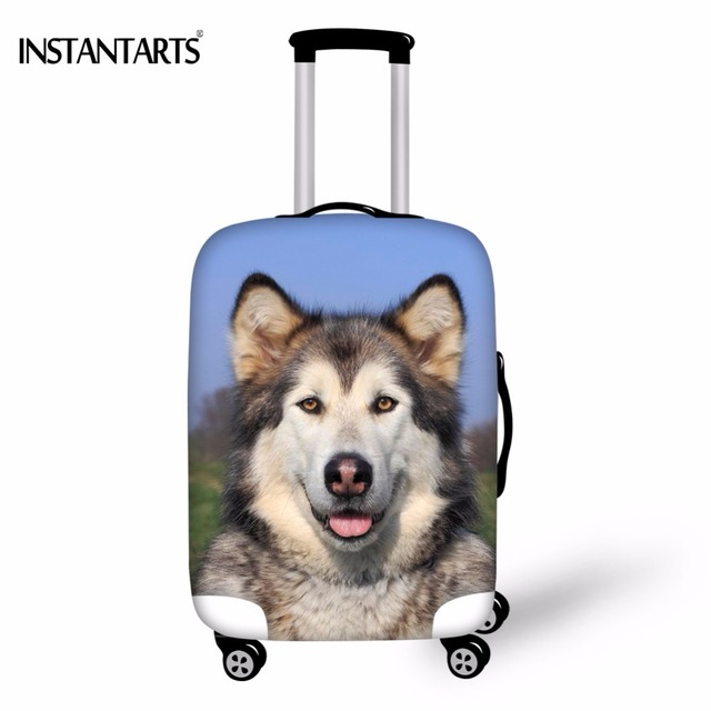 57994cc80a79 US $16.52 13% OFF|INSTANTARTS Kawaii 3D Dog Alaskan Malamute Print Luggage  Protect Covers Apply to 18 30 Inch Trolley Suitcase Travel Accessories-in  ...