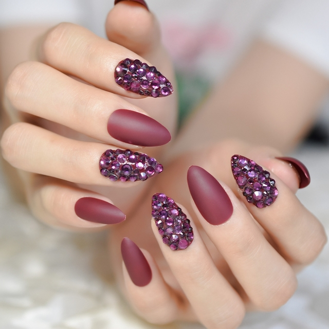 Wine Red Rhinestone Y Fake Nail Almond Medium Manicure Accessories Matte False Nails Full Cover Lady