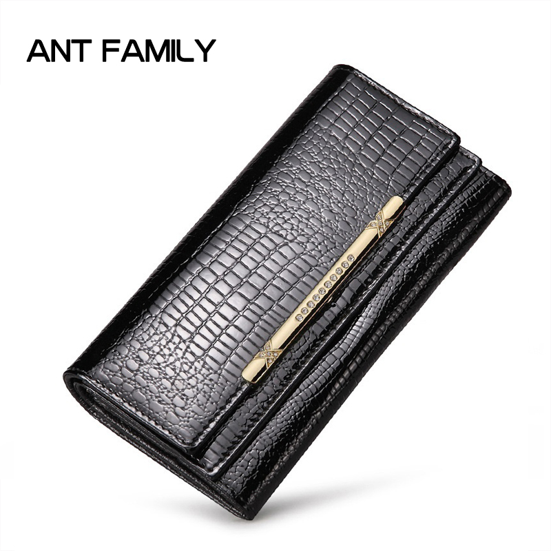 Ladies Genuine Leather Wallet Women Fashion Patent Leather Wallets Coin Purse Female Large Capacity Clutch 3 Fold Cowhide Wallet 2015 hot sale free shipping 8 colors wallet women wallets new fashion solid female wallet women clutch women coin purse qb 030