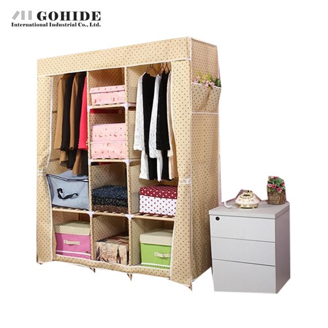 Gohide Wardrobe Simple Wardrobe Double Solid Wood Wardrobes Combination Folding Wardrobes Storage Coat Hangers Lockers