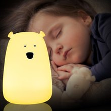 Colorful Cartoon Bear Silicone LED Night Chargeable Battery Touch Sensor light 2 Style USB Night Lamp for Children Baby Bedroom