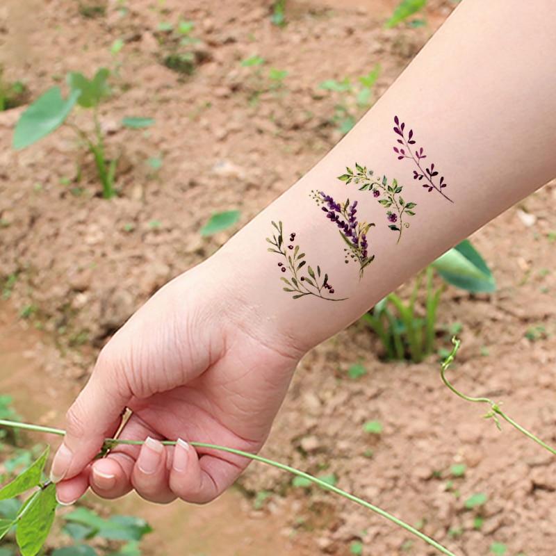 Водостойкая Временная тату наклейка с лиловым цветком и листом лаванды, наклейки с растениями, флеш тату, искусственные татуировки для девочек, женщин и детей|Временные тату|   | АлиЭкспресс