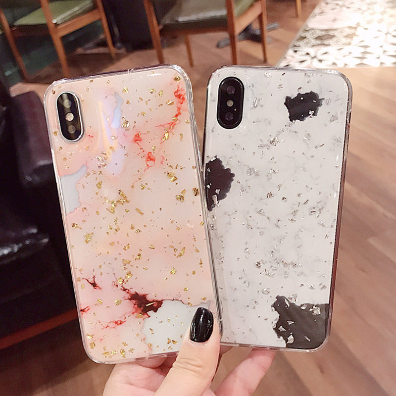 Luxury Gold Foil Bling Marble Phone Cases For iPhone X 10 Cover Hole Soft TPU Cover For iPhone 7 8 6 6s Plus Glitter Case Coque (4)