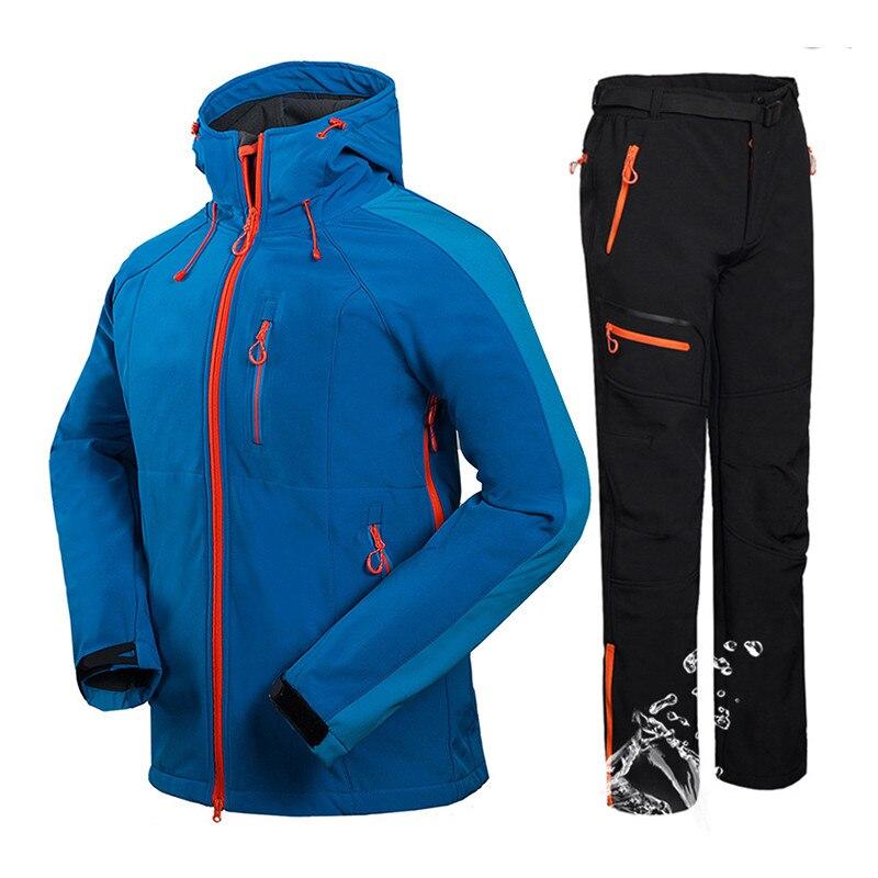 Winter Outdoor Climbing Mountain Hiking Jacket + Pants Tech Fleece Softshell Clothes For Men Waterproof Fishing Hunting Ski Suit