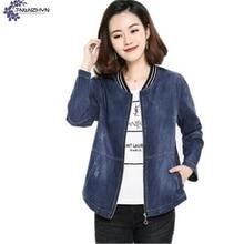 TNLNZHYN NEW Women clothing Denim jacket coat autumn fashion leisure Big yards long sleeves short female
