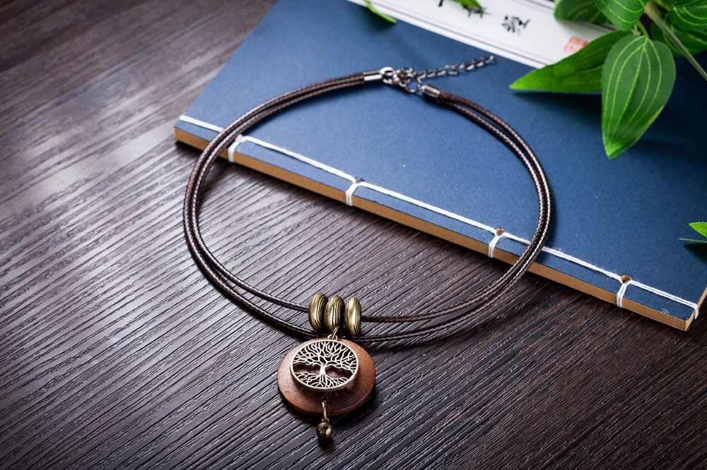 2017 Чокеры женщина Ожерелья для мужчин старинные ювелирные изделия дерево Дизайн деревянный кулон ожерелье для женщин ожерелье Mujer Kolye