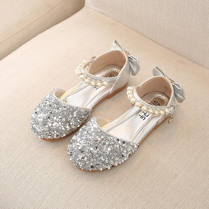Silver Pink Kids Toddler Pearl Children Girls Wedding Party Dress Princess Leather Shoes With Sequins Girls Dance Shoes NewSilver Pink Kids Toddler Pearl Children Girls Wedding Party Dress Princess Leather Shoes With Sequins Girls Dance Shoes New