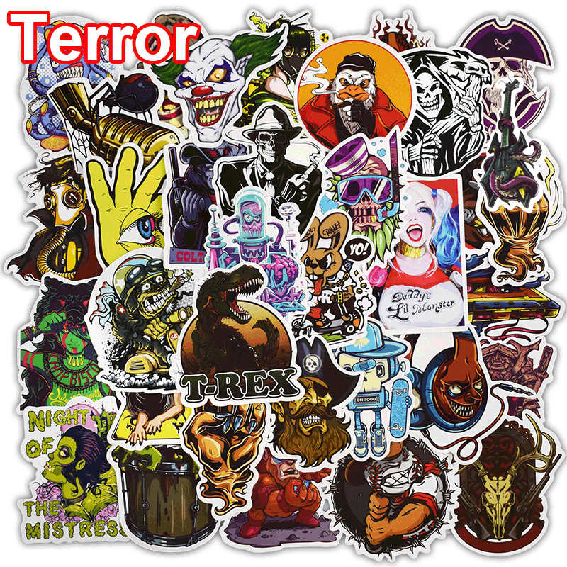 50 Pcs Terror Stickers for Laptop Phone Skateboard Luggage Car Styling Bicycles Doodle Vinyl Decals Horror Waterproof Sticker цена