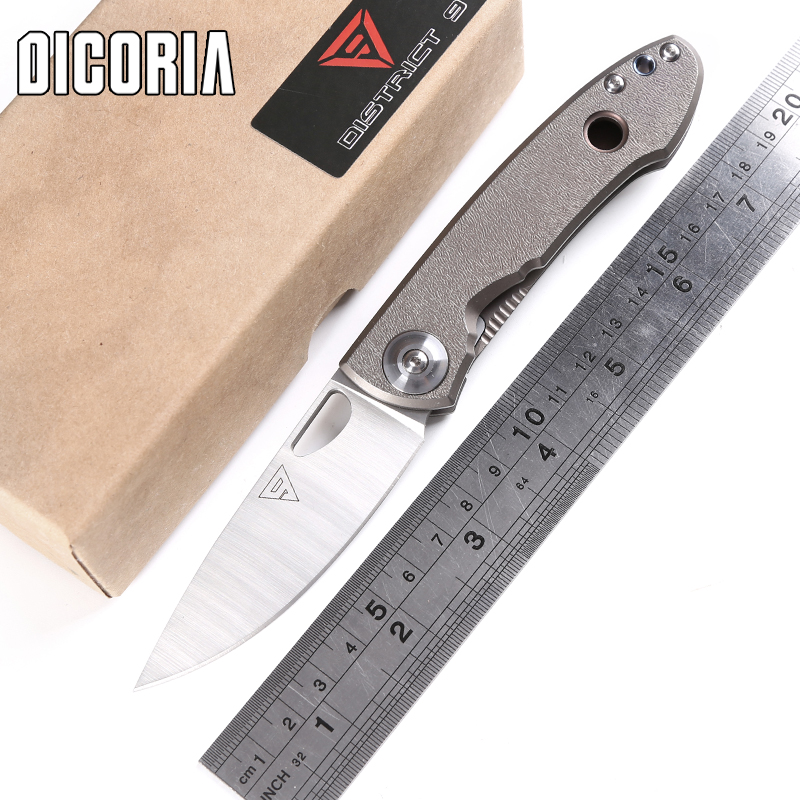 DICORIA District9 E190 Sandvik 14C28N blade titanium handle tactical folding knife camping outdoor gear survival tool EDC knives edc gear outdoor 6 slot design tool box with blade saw opener bar code sheet s carabiner