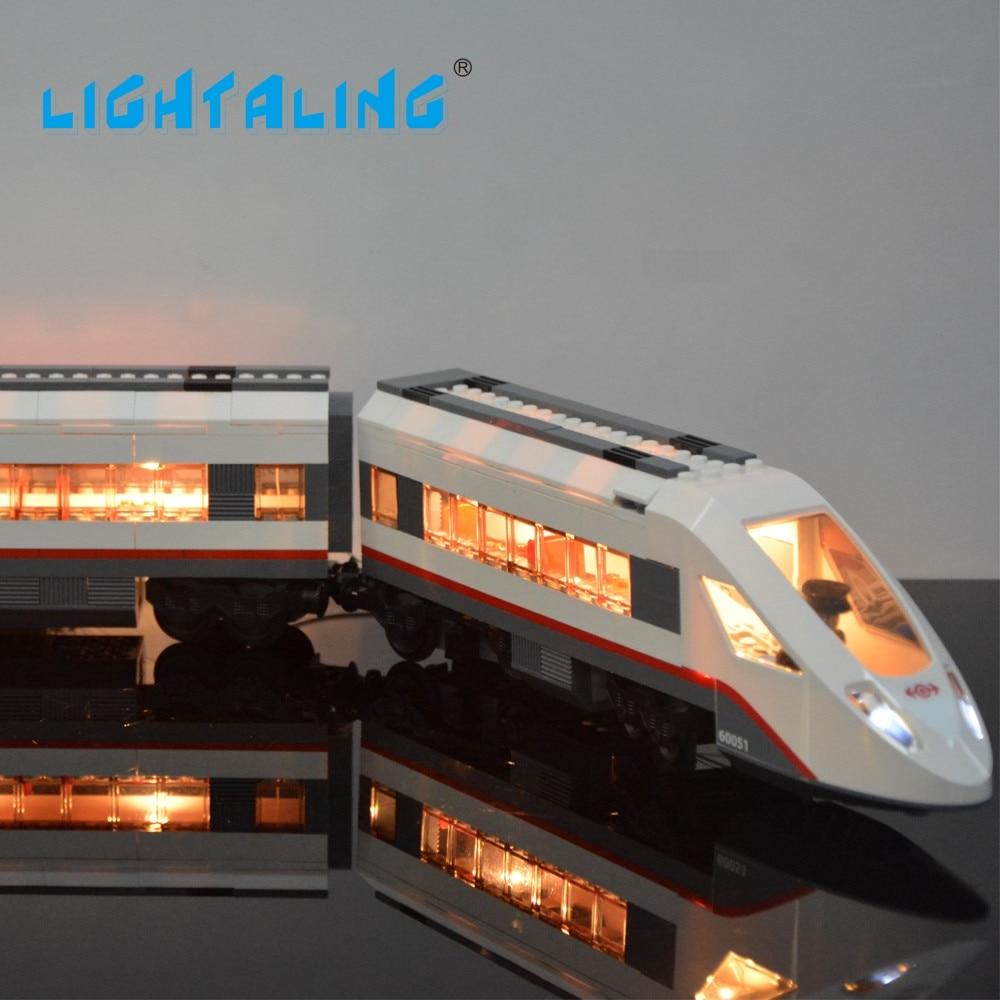 Lightaling LED-ljusuppsättning för kompatibel med känd märke 60051 Tågen Höghastighetspassager Modell Kit Block Toy