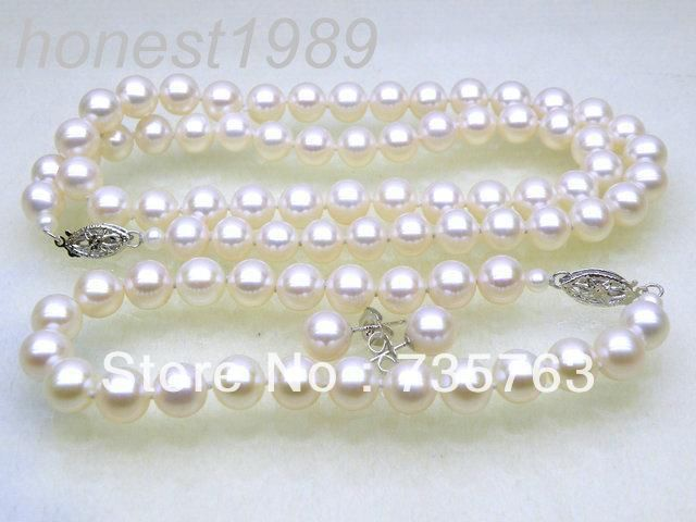Xiuli 00114 7.5-8mm AAA + rond blanc akoya collier de perles bracelet boucle d'oreille ensemble 14 KGPt or