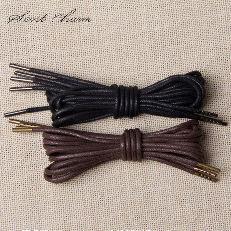 SENTCHARM 2.5MM Waxed Lace Round Metal Head Shoelace Copper Shoe Leader Hiking Walking Camping Black And Brown LT060