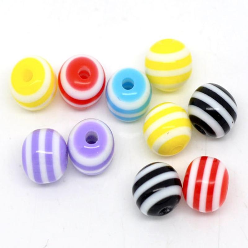 DoreenBeads в случайном полосатый круглый бусины-разделители из смолы 6 мм, продается в упаковке 25