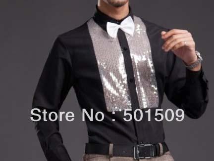 Envío gratis negro lentejuelas etapa decoración mens smoking camisetas camisas del partido de la manera/camisas de eventos