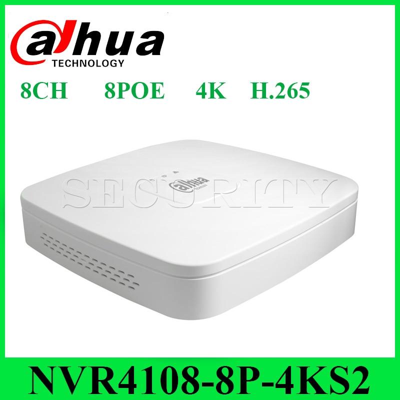 Dahua NVR4108-8P-4KS2 DH mini Enregistreur Vidéo 8CH Intelligent 1U 8PoE port 4K & H.265 jusqu'à 8MP Résolution Max 80Mbps