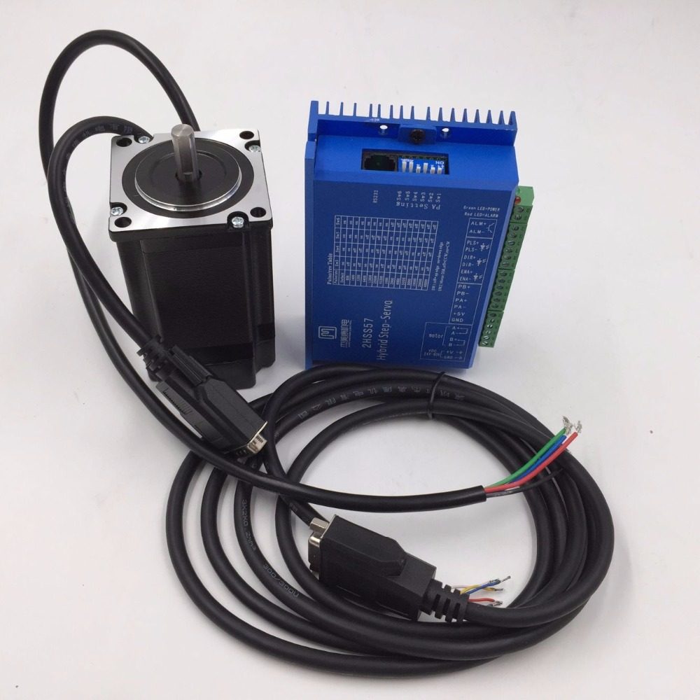 2 Phase 57mm NEMA23 Stepper Motor&Driver 1NM 4A 1000line Encoder Closed Loop Stepper Motor+Drive Kit 57J1854EC-1000+2HSS57 closed loop stepper motor 57j1854ec 1000 2hss57 driver 0 9n m nema 23 hybrid 2 phase step motor with 3m encoder cable