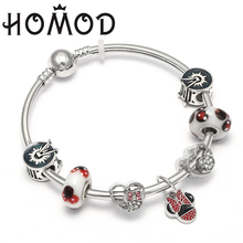 HOMOD Original Design European Style Mickey Minnie Cartoon Charms Beads Fits Brand Bracelets & Bangles Pulseras