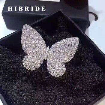 Женское кольцо с бабочкой hibrid, белое/Золотое кольцо на палец с микро закрепкой из кубического камня, подарок на R-150