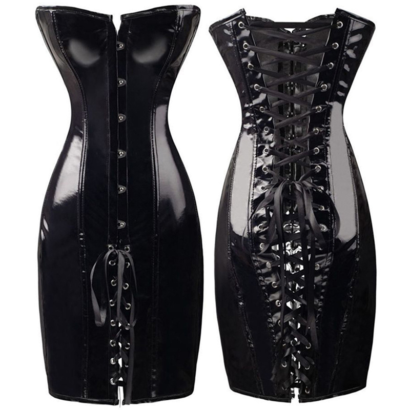 Sexy Long PU Leather Corset Gothic Dress Shiny PVC Leather Boned Bustier Top Women Lace Clubwear Corselet Black Red